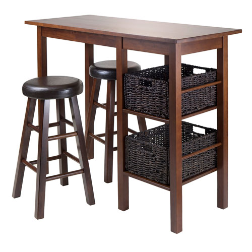 Winsome Wood Egan 5 Piece Table with Two 24-Inch Round Cushion Stools and 2 Baskets