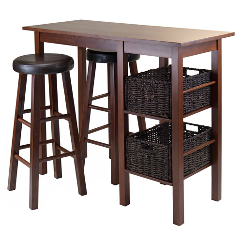 Egan 5 Piece Breakfast Table with 2 Baskets and 2 Swivel Seat Pac Stools
