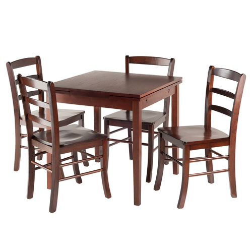 Winsome Wood Pullman 5-Piece Set Extension Table with Ladder Back Chairs