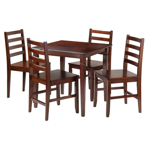 Kingsgate 5-Piece Dining Table with 4 Hamilton Ladder Back Chairs