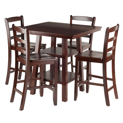 Orlando 5-Piece Set High Table, 2 Shelves with 4 Ladder Back Stools