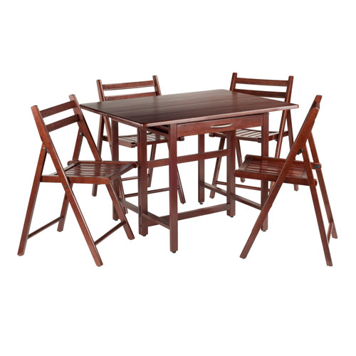 Winsome Wood Taylor 5 Piece Set Drop Leaf Table With 4 Folding