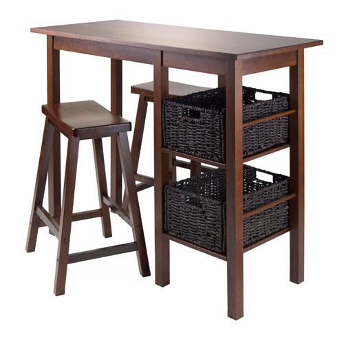 Egan 5 Piece Table with Two 24-Inch Saddle Seat Stools and 2 Baskets