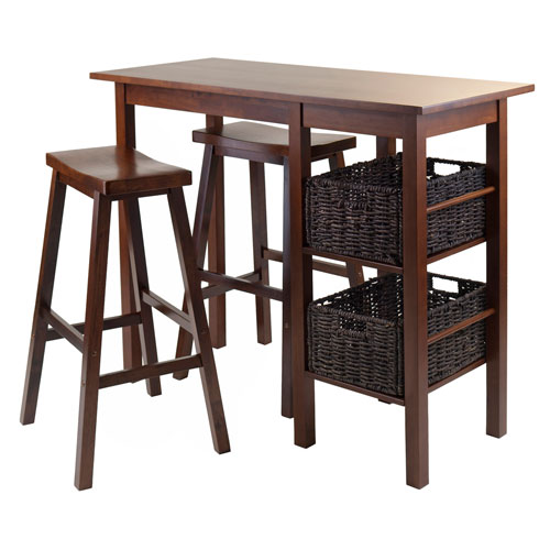 Winsome Wood Egan 5 Piece Breakfast Table with 2 Baskets and 2 Saddle Seat Stools