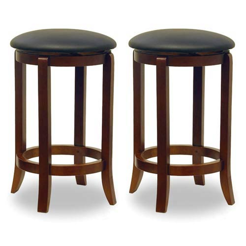 Winsome Wood 24 Inch Black Faux Leather Swivel Stools Set Of Two