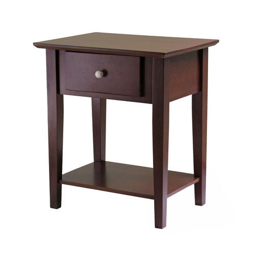 Winsome Wood Shaker Antique Walnut Night Stand with Drawer