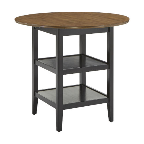 Caroline Black Two-Tone Side Drop Leaf Round Counter Height Table