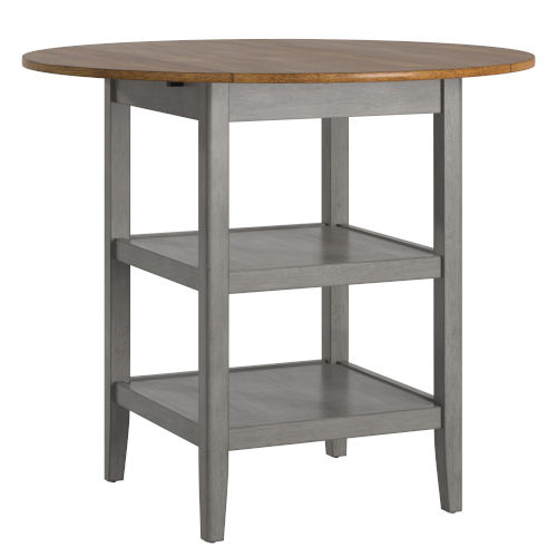 Caroline Gray Two-Tone Side Drop Leaf Round Counter Height Table