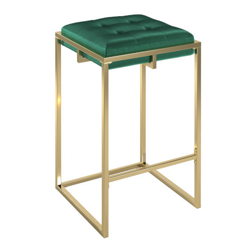 Minnie Gold and Green Velvet Button Tufted Counter Stool, Set of Two