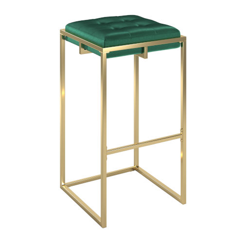 Minnie Gold and Green Velvet Button Tufted Bar Stool, Set of Two