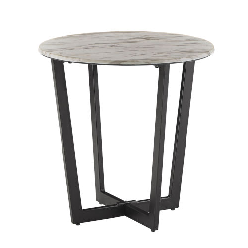 Danica White Faux Marble End Table