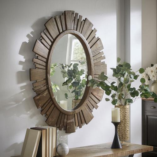 Brigid Reclaimed Wood Oval Sunburst Wall Mirror