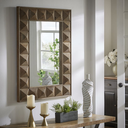 Fisher Reclaimed Wood Rectangular Geometric Faceted Wall Mirror