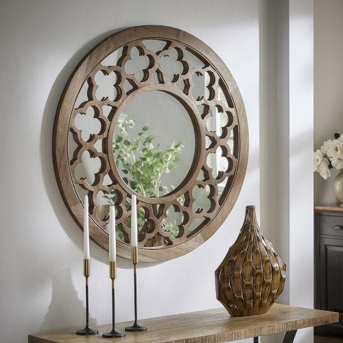 Wesley Wood Quatrefoil Cutout Round Wall Mirror