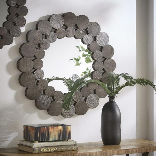 Katherine Dark Brown Reclamied Wood 32-Inch Round Wall Mirror