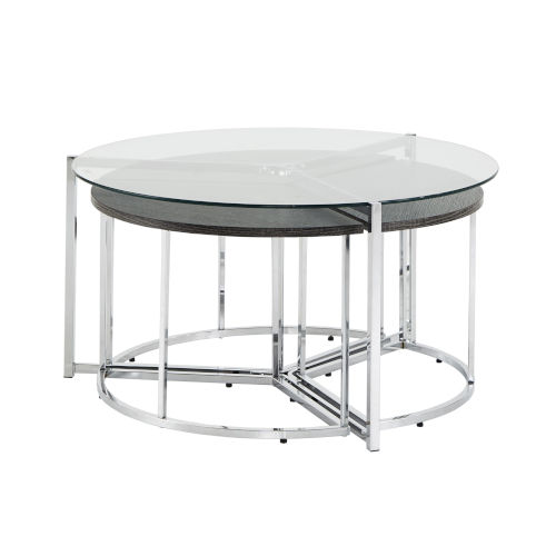 Alexia Chrome Cocktail Table with Glass Top