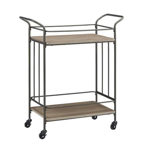 Moreno Bronze and Wood Straight Line Bar Cart
