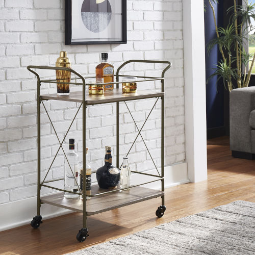 Torres Bronze and Walnut X-Frame Bar Cart with Wood Shelf