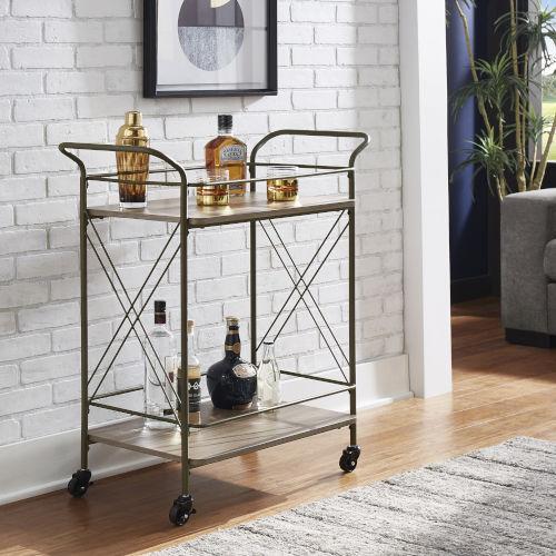 Harley Bronze and Wood Double-Cross Bar Cart