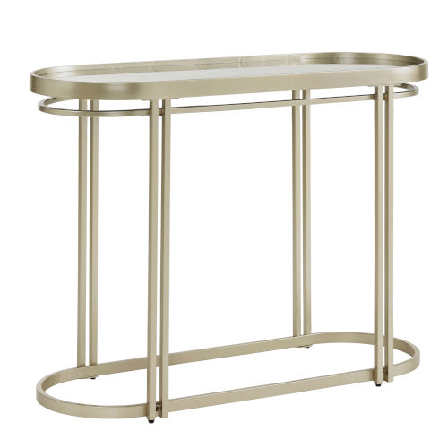 Samantha Champagne Silver Oval Antique Mirror Top Sofa Table