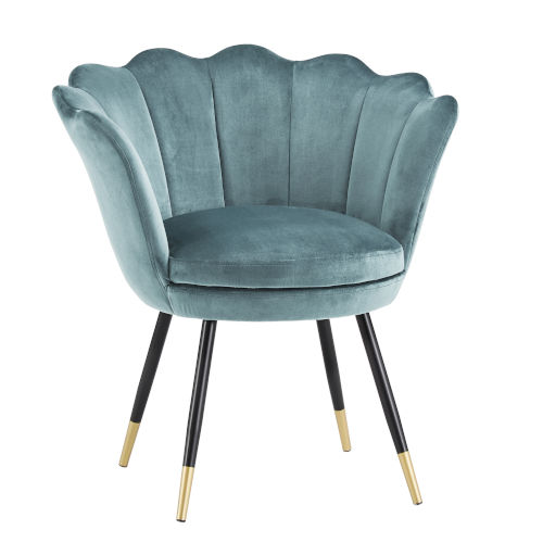 Stella Blue Velvet Seashell Armless Chair with Black and Gold Leg