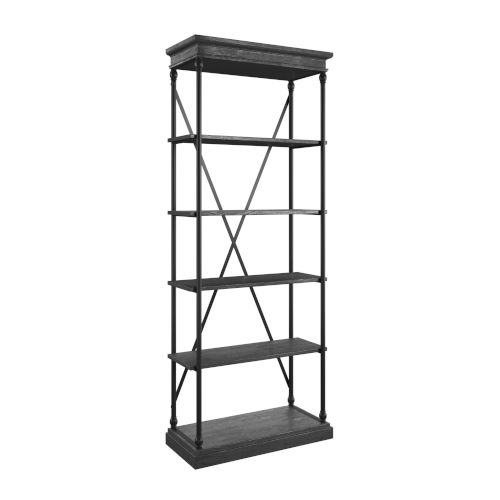Vernal Black Etagere Bookcase