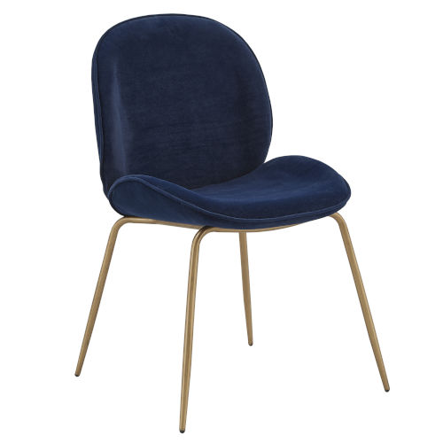 Cheryl Gold and Blue Velvet Dining Chair, Set of Two