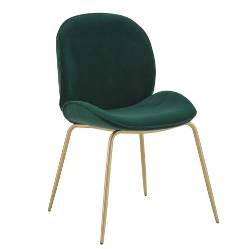 Cheryl Gold and Green Velvet Dining Chair, Set of Two