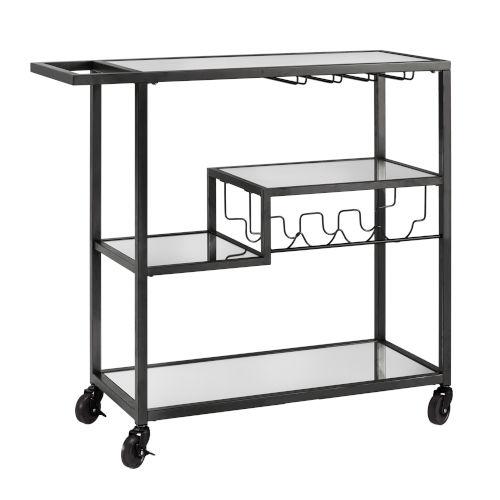 Juan Black Glass Top Metal Bar Cart