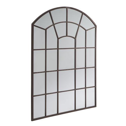 Laurel Bronze Arched Windowpane Wall Mirror