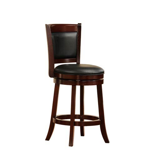 HomeHills 24-Inch Cherry Swivel Chair with Upholstered Back