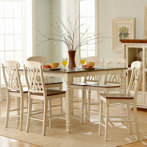 Country Inspired Seven Piece Off White Counter Extendable Dining Set