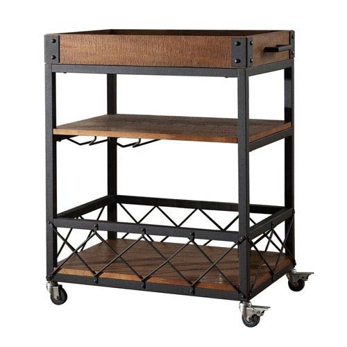 HomeHills Ashburne Espresso Rustic Bar Cart