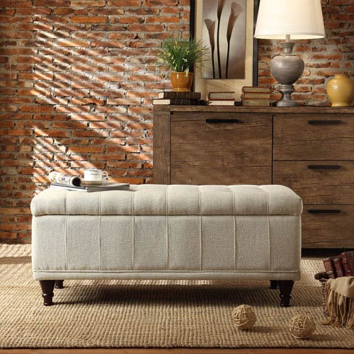 HomeHills Tufted Beige Upholstered Storage Bench