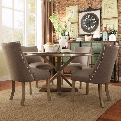 Charmant Nocona Grey Oak 5 Piece Steel Banded Round Dining Set