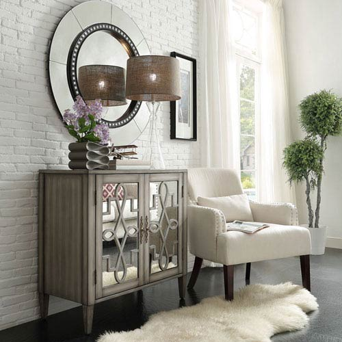 HomeHills Georgina Grey 2-Door Mirrored Cabinet