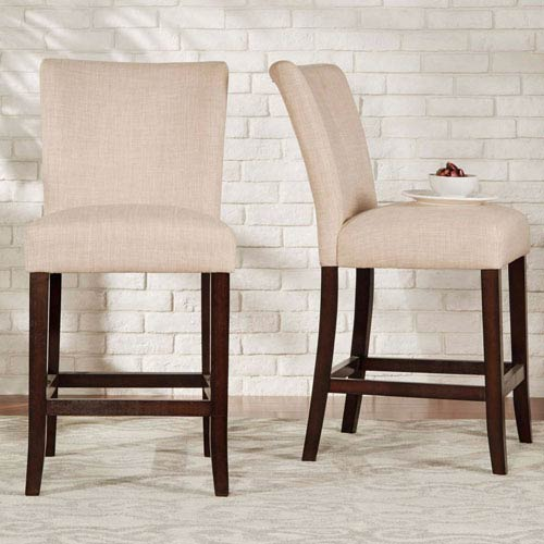 Wondrous Homehills Fitch Bisque Parson Linen Counter Stool Set Of 2 Gmtry Best Dining Table And Chair Ideas Images Gmtryco