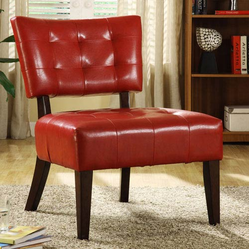 HomeHills Red Tufted Faux Leather Accent Chair