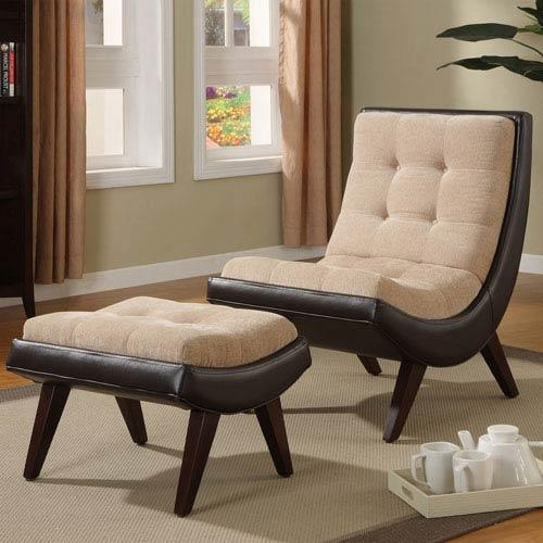 Dark Brown Velvet Lounge Chair with Ottoman