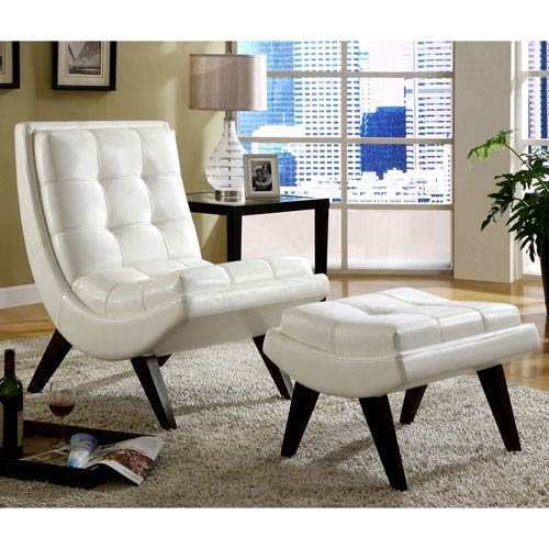 HomeHills White Faux Leather Lounge Chair with Ottoman