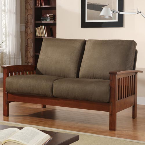 HomeHills Mission Loveseat with Olive Microfiber