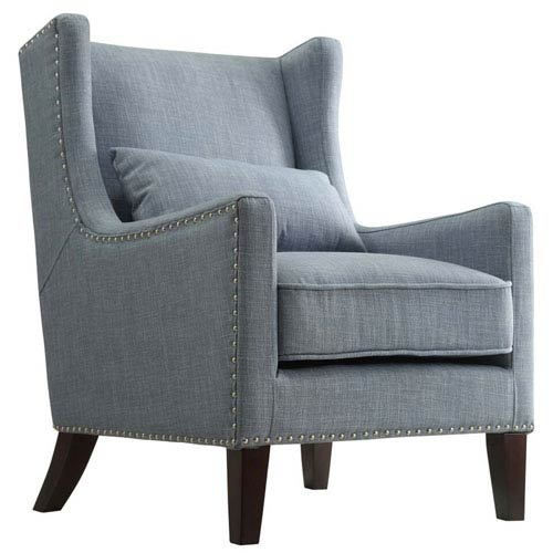 Staunton Blue Wingback Club Chair