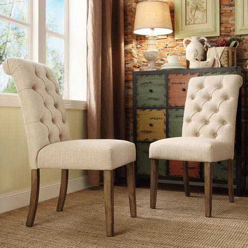 Newhall Bisque Button Tufted Side Chair, Set of 2