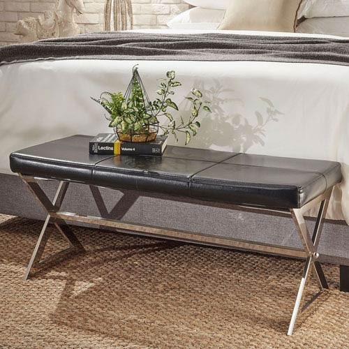 HomeHills Tavia Black Chrome Trestle Base Bench
