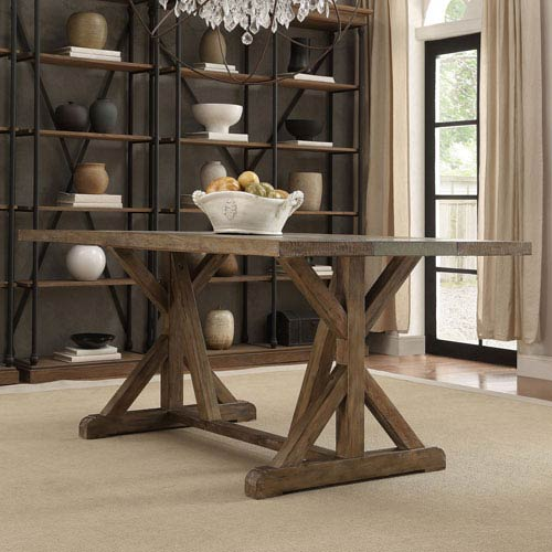 Ellary Rustic Pine Concrete Strip Trestle Base Dining Table