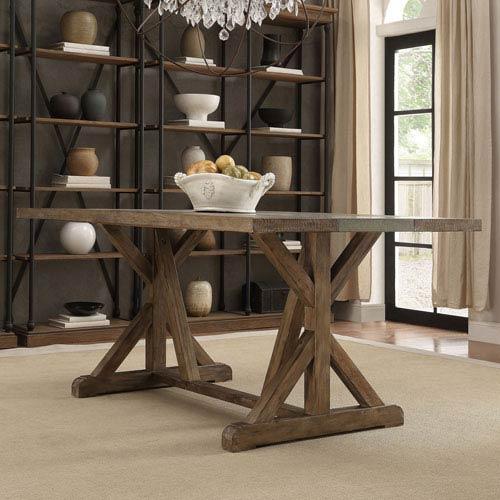 Ellary Rustic Pine Concrete Strip Trestle Base Dining Table