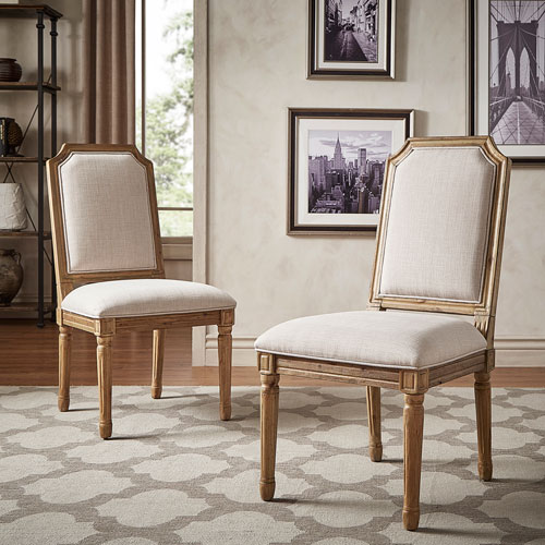 Eliza Beige Linen Wood Side Chair, Set of 2