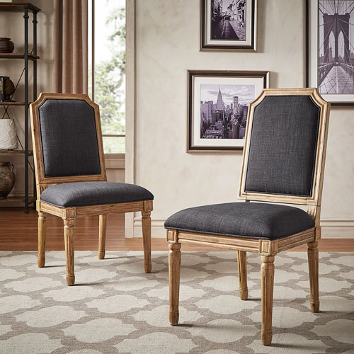 Eliza Dark Grey Linen Wood Side Chair, Set of 2