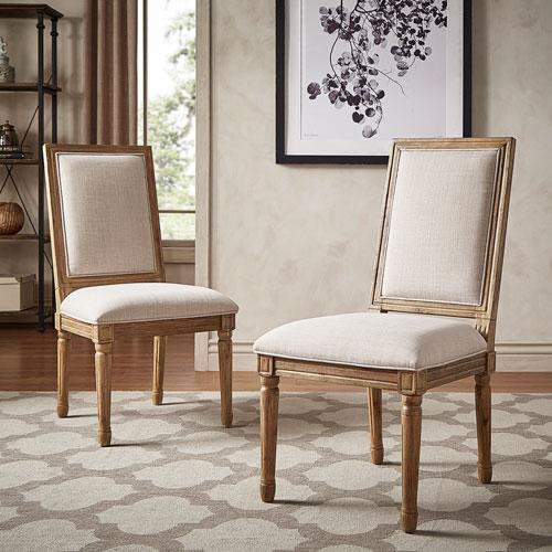 HomeHills Eliza Beige Linen Wood Side Chair, Set of 2
