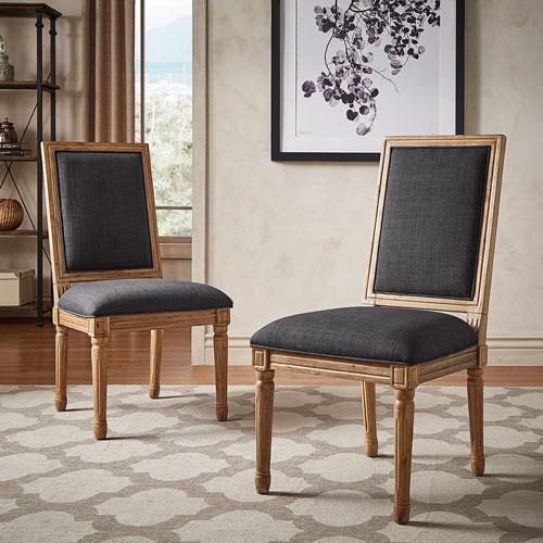 Eliza Dark Grey Linen Wood Side Chair, Set of 2